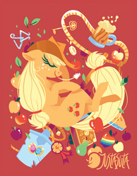 Size: 875x1125 | Tagged: apple, applejack, artist:justasuta, bits, book, cider, cowboy hat, earth pony, eyes closed, female, floppy ears, food, hat, hooves, key, key of honesty, lasso, leaf, lineless, mare, mug, pear, pie, pony, profile, red background, rope, safe, shovel, simple background, solo, straw in mouth, tankard, zap apple