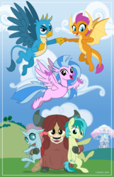 Size: 580x900 | Tagged: artist:tim-kangaroo, changedling, changeling, dragon, drawfriend, earth pony, equestria daily, field, gallus, griffon, hippogriff, hoofbump, hug, looking at you, ocellus, pony, poster, safe, sandbar, silverstream, smiling, smolder, student six, treehouse of harmony, yak, yona