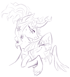 Size: 1280x1422 | Tagged: alicorn, artist:virtualkidavenue, cloven hooves, crying, eyes closed, female, floppy ears, flower, flower in hair, hug, mare, missing horn, oc, oc:harmony (heilos), original species, ponified, pony, safe, sketch, smiling, solo, twilight sparkle, twilight sparkle (alicorn)