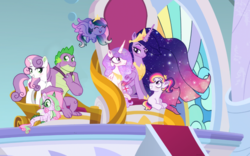 Size: 1027x640 | Tagged: safe, artist:unoriginai, edit, edited screencap, screencap, princess celestia, spike, sweetie belle, twilight sparkle, oc, oc:lotus lullaby, oc:prince dawn, oc:princess dusk, alicorn, dracony, earth pony, hybrid, pegasus, pony, the last problem, spoiler:s09e26, baby, baby pony, bedroom eyes, cute, female, interspecies offspring, lesbian, magical lesbian spawn, male, offspring, older, older spike, older twilight, parent:princess celestia, parent:spike, parent:sweetie belle, parent:twilight sparkle, parents:spikebelle, parents:twilestia, pink-mane celestia, princess twilight 2.0, ring, shipping, spikebelle, straight, twilestia, twilight sparkle (alicorn), wedding ring