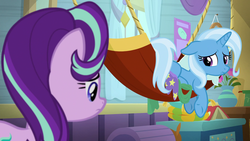 Size: 1920x1080 | Tagged: a horse shoe-in, book, chest, female, flower, hammock, looking over shoulder, mare, pony, sad, safe, screencap, spoiler:s09e20, starlight glimmer, trixie, trixie's wagon, unicorn, vase, wagon, window