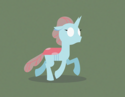 Size: 1972x1528 | Tagged: safe, artist:gd_inuk, ocellus, changedling, changeling, blank eyes, empty eyes, female, green background, lineless, no mouth, no pupils, simple background, solo, trotting, walking
