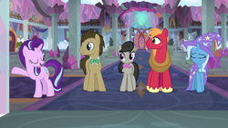 Size: 1920x1080 | Tagged: a horse shoe-in, big macintosh, cape, clothes, doctor whooves, earth pony, female, hat, mare, octavia melody, pony, safe, school of friendship, screencap, smug, spoiler:s09e20, starlight glimmer, time turner, trixie, trixie's cape, trixie's hat, unicorn