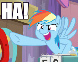 Size: 473x375 | Tagged: a trivial pursuit, caption, cropped, edit, edited screencap, image macro, impact font, open mouth, pegasus, pointing, rainbow dash, safe, screencap, solo, spoiler:s09e16, text