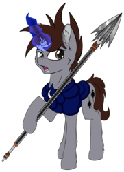 Size: 3270x4515 | Tagged: armor, artist:calena, broken horn, context in description, description is relevant, ear fluff, high res, horn, magic, male, oc, oc:midnight spades, oc only, pony, prosthetic horn, prosthetics, reference, safe, simple background, solo, spear, stallion, transparent background, unicorn, weapon