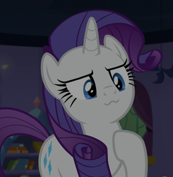 Size: 1058x1080 | Tagged: :3, cropped, dragon dropped, edit, edited screencap, pony, rarity, safe, screencap, solo, spike's room, spoiler:s09e19, unicorn