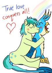 Size: 1000x1400 | Tagged: anatomically incorrect, artist:horsesplease, blushing, crowing, gallbar, gallus, gay, gayllus, kissing, male, rainbow, safe, sandbar, shipping, super gay, what have i done