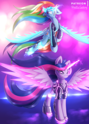 Size: 2500x3500 | Tagged: alicorn, artist:shad0w-galaxy, augmented, clothes, cutie mark, cyberpunk, cyborg, female, high res, jacket, mare, neon, patreon, patreon logo, pegasus, pony, rainbow dash, safe, twilight sparkle, twilight sparkle (alicorn)