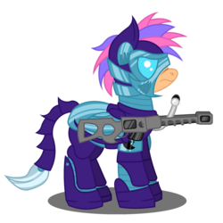 Size: 1800x1800 | Tagged: artist:onlineodd, enclave, enclave armor, female, gun, mare, oc, oc:nimbus flare, pegasus, pony, rifle, safe, scarred, simple background, sniper rifle, solo, transparent background, weapon