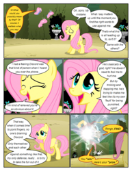 Size: 612x792 | Tagged: annoyed, artist:newbiespud, butterfly, comic, comic:friendship is dragons, dialogue, discord, draconequus, edited screencap, eyes closed, female, flower, fluttershy, hedge maze, male, mare, pegasus, pony, raised hoof, safe, screencap, screencap comic, smiling, smug, teleportation, the return of harmony