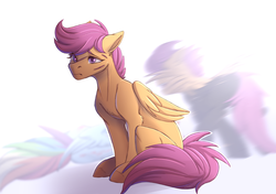 Size: 3214x2266 | Tagged: artist:1an1, blurred background, clothes, crying, female, lying, mare, memories, pegasus, pony, rainbow dash, regret, sad, safe, scar, scootaloo, sitting, solo focus, uniform, washouts uniform
