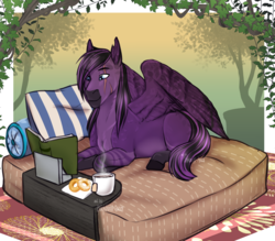 Size: 2277x1991 | Tagged: artist:blackblood-queen, book, commission, eye scar, food, male, oc, oc only, pegasus, pillow, pony, prone, reading, safe, scar, smiling, solo, stallion, tea