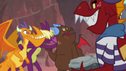 Size: 1920x1080 | Tagged: billy (dragon), clump, fume, garble, safe, screencap, spear (dragon), spoiler:s09e09, sweet and smoky