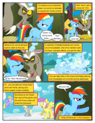Size: 612x792 | Tagged: angry, annoyed, artist:newbiespud, background pony, cloud kicker, cloudsdale, comic, comic:friendship is dragons, derpy hooves, dialogue, discord, draconequus, edited screencap, female, flying, frown, hedge maze, looking up, male, mare, parasol, pegasus, pony, rainbow dash, raised hoof, safe, scared, screencap, screencap comic, surprised, the return of harmony, wingless