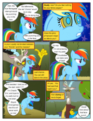 Size: 612x792 | Tagged: angry, annoyed, apple, artist:newbiespud, bipedal, comic, comic:friendship is dragons, dialogue, discord, draconequus, edited screencap, female, food, frown, hedge maze, hoofy-kicks, kaa eyes, male, mare, mind control, pegasus, pony, rainbow dash, safe, screencap, screencap comic, smiling, smirk, the return of harmony, tree