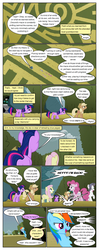 Size: 612x1553 | Tagged: applejack, artist:newbiespud, comic, comic:friendship is dragons, dialogue, discorded, earth pony, earth pony twilight, edited screencap, eyes closed, flower, fluttershy, freckles, hat, hedge maze, looking up, mane six, pegasus, pinkie pie, pony, rainbow dash, rarity, safe, screencap, screencap comic, smiling, the return of harmony, tom, twilight sparkle, unicorn, wingless