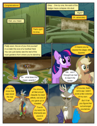 Size: 612x792 | Tagged: annoyed, applejack, artist:newbiespud, comic, comic:friendship is dragons, dialogue, discord, draconequus, earth pony, earth pony twilight, edited screencap, female, flutterbitch, fluttershy, freckles, greedity, hat, hedge maze, liarjack, male, mane six, mare, open mouth, pegasus, pinkie pie, pony, rainbow dash, rarity, safe, screencap, screencap comic, statue, the return of harmony, tom, twilight sparkle, unicorn