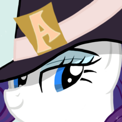 Size: 706x706 | Tagged: artist:ciaran, bust, close-up, derpibooru exclusive, detective rarity, female, hat, letter, lidded eyes, mare, pony, portrait, rarity, rarity investigates, safe, simple background, smiling, solo