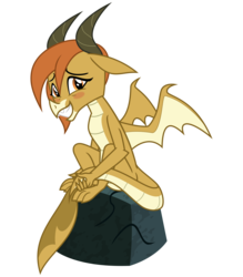 Size: 2800x3200 | Tagged: safe, artist:cheezedoodle96, ocellus, changedling, changeling, dragon, .svg available, blushing, cute, diaocelles, disguise, disguised changeling, dragon ocellus, female, holding tail, looking at you, rock, shy, simple background, sitting, smiling, solo, spread wings, svg, transparent background, vector, wings