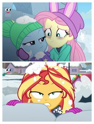 Size: 3106x4096   Tagged: safe, edit, edited screencap, screencap, fluttershy, sunset shimmer, trixie, equestria girls, equestria girls series, holidays unwrapped, saving pinkie's pie, spoiler:eqg series (season 2), comic, out of context, plusplus, screencap comic, snow, winter outfit