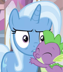 Size: 636x728 | Tagged: safe, edit, edited screencap, editor:undeadponysoldier, screencap, spike, trixie, pony, unicorn, a horse shoe-in, cropped, cute, diatrixes, eyeshadow, female, hug, makeup, male, mare, shipping, spikabetes, spixie, straight, trixie is not amused, unamused