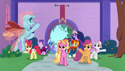 Size: 1920x1080 | Tagged: safe, screencap, apple bloom, luster dawn, ocellus, scootaloo, starlight glimmer, sunburst, sweetie belle, trixie, twilight sparkle, alicorn, changedling, changeling, the last problem, animation error, cutie mark crusaders, goldie delicious' scarf, headmare starlight, jewelry, long neck, missing wing, no wing, older, older apple bloom, older ocellus, older scootaloo, older starlight glimmer, older sunburst, older sweetie belle, older trixie, princess twilight 2.0, regalia, sunburst the bearded, twilight sparkle (alicorn), wingless