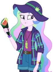 Size: 1963x2688 | Tagged: safe, artist:sketchmcreations, edit, editor:slayerbvc, vector edit, princess celestia, equestria girls, equestria girls series, the road less scheduled, the road less scheduled: celestia, spoiler:eqg series (season 2), feather, female, flannel, food, hat, no makeup edit, open mouth, principal celestia, simple background, sushi, sushi cone, transparent background, vector