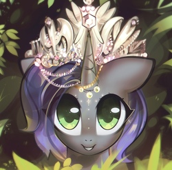 Size: 1604x1584 | Tagged: safe, artist:mirroredsea, oc, oc only, oc:moonsonat, pony, unicorn, bust, female, floppy ears, grin, horn, horn jewelry, jewelry, leaves, looking at you, mare, smiling, solo