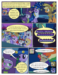 Size: 612x792   Tagged: safe, artist:newbiespud, edit, edited screencap, screencap, alula, applejack, berry punch, berryshine, cherry berry, fluttershy, mayor mare, minuette, noi, pipsqueak, piña colada, raven, sea swirl, seafoam, spike, sunshower raindrops, twilight sparkle, dragon, ladybug, pony, unicorn, comic:friendship is dragons, luna eclipsed, background pony, background pony audience, bandana, bedsheet ghost, clown, clown nose, colt, comic, dialogue, dragon costume, eyepatch, eyes closed, fake beard, female, filly, freckles, glasses, hat, looking back, looking up, male, mare, red nose, scarecrow, scared, screencap comic, smiling, space helmet, star swirl the bearded costume, unicorn twilight, wizard hat