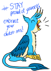 Size: 1000x1400 | Tagged: artist:horsesplease, behaving like a bird, crossed out text, crowing, cute, eyes closed, gallabetes, gallus, gallus the rooster, griffon, happy, male, motivational, open mouth, positive ponies, proud, safe, simple background, sitting, smiling, solo, text, white background
