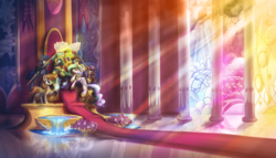 Size: 7000x4016 | Tagged: safe, artist:amura-of-jupiter, princess celestia, oc, oc:idol hooves, alicorn, bat pony, pegasus, pony, unicorn, fanfic:the changeling of the guard, armor, banner, blank stare, canterlot castle, canterlot throne room, carpet, context is for the weak, crown, disguise, disguised changeling, dust, earth, ethereal mane, fanfic art, feather fans, feeding, female, flower, food, generic pony, goblet, gold, grapes, green magic, guard armor, hall, hypnosis, hypnotized, jewelry, kneeling, magic, male, oc and canon, pillar, planet, raised hoof, raised leg, red carpet, reflection, regalia, room, royal guard, sitting, slit pupils, slitted eyes, stained glass, starry mane, sun ray, swirls, throne, throne room, water, water fountain, wing hold