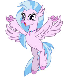 Size: 2800x3200 | Tagged: safe, alternate version, artist:cheezedoodle96, silverstream, classical hippogriff, hippogriff, .svg available, arms spread out, female, flying, happy, looking at you, open mouth, simple background, solo, spread wings, svg, transparent background, vector, wings
