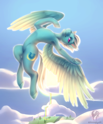 Size: 2500x3000 | Tagged: safe, artist:jessicanyuchi, fleetfoot, pegasus, pony, armpits, belly button, cloud, female, flying, looking at you, mare, rainbow falls (location), signature, sky, solo