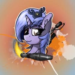 Size: 1780x1780   Tagged: safe, oc, pony, unicorn, avatar, female, flamethrower, head, rocket, spycrab, team fortress 2, weapon