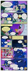 Size: 612x1556 | Tagged: safe, artist:newbiespud, edit, edited screencap, screencap, alula, apple bloom, applejack, fluttershy, noi, pinkie pie, pipsqueak, piña colada, princess luna, scootaloo, sweetie belle, twilight sparkle, alicorn, earth pony, pegasus, pony, unicorn, comic:friendship is dragons, luna eclipsed, ..., animal costume, annoyed, bandana, chicken pie, chicken suit, cloak, clothes, colt, comic, costume, cutie mark crusaders, dialogue, ethereal mane, eyepatch, fake beard, female, filly, freckles, hat, hug, male, mare, scared, screaming, screencap comic, star swirl the bearded costume, starry mane, traditional royal canterlot voice, unicorn twilight, wizard hat, wolf costume