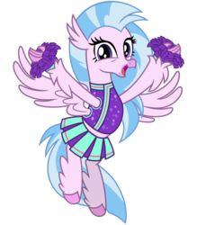 Size: 2800x3200 | Tagged: safe, artist:cheezedoodle96, silverstream, classical hippogriff, hippogriff, 2 4 6 greaaat, .svg available, arms spread out, cheering, cheerleader, cheerleader outfit, cheerleader silverstream, clothes, cute, diastreamies, female, flying, happy, looking at you, moe, open mouth, pleated skirt, pom pom, shirt, simple background, skirt, solo, spread wings, svg, transparent background, vector, wings