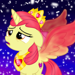 Size: 1000x1000 | Tagged: adorabloom, alicorn, alicornified, apple bloom, artist needed, bloomicorn, crown, cute, editor:katya, floppy ears, jewelry, open mouth, princess apple bloom, race swap, regalia, sad, safe, vector