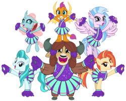 Size: 5000x4000 | Tagged: source needed, safe, artist:cheezedoodle96, lighthoof, ocellus, shimmy shake, silverstream, smolder, yona, changedling, changeling, classical hippogriff, dragon, earth pony, hippogriff, pony, yak, 2 4 6 greaaat, .svg available, balancing, cheering, cheerleader, cheerleader ocellus, cheerleader outfit, cheerleader silverstream, cheerleader smolder, cheerleader yona, clothes, cloven hooves, cute, diaocelles, diastreamies, dragoness, female, flying, group, lightorable, looking at you, mare, monkey swings, pleated skirt, pom pom, shakeabetes, simple background, skirt, smiling, smolderbetes, svg, transparent background, vector, yonadorable