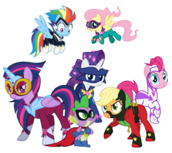 Size: 1072x956 | Tagged: alicorn, applejack, background removed, cape, clothes, costume, fili-second, fluttershy, humdrum, looking at you, looking down, looking left, looking up, mane seven, mane six, mask, masked matter-horn, mistress marevelous, pegasus, pinkie pie, pony, power ponies, radiance, rainbow dash, rarity, saddle rager, safe, simple background, spike, transparent background, twilight sparkle, twilight sparkle (alicorn), vector, zapp
