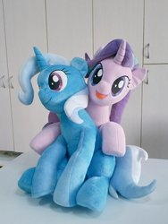 Size: 768x1024   Tagged: safe, artist:nekokevin, starlight glimmer, trixie, pony, unicorn, series:nekokevin's glimmy, duo, female, hug, irl, looking at you, mare, open mouth, photo, plushie, sitting, smiling, underhoof