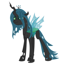 Size: 4688x4688 | Tagged: artist:besttubahorse, changeling, grumpy, queen chrysalis, safe, simple background, solo, transparent background, transparent mane, transparent wings, vector, wings