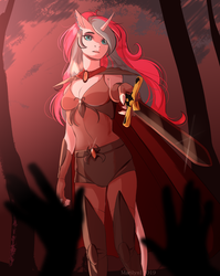 Size: 3132x3928 | Tagged: anthro, armor, artist:marilyn, boob window, cape, clothes, evening gloves, fantasy class, female, fingerless elbow gloves, fingerless gloves, gloves, jewelry, long gloves, no tail, oc, oc:diamond mind, safe, shoulder pads, solo, solo female, sword, unconvincing armor, unicorn, weapon, ych result
