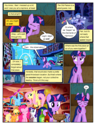 Size: 612x792 | Tagged: alcohol, applejack, artist:newbiespud, background pony, balloon, bendy straw, book, bookcase, castle of the royal pony sisters, chocolate, chocolate rain, comic, comic:friendship is dragons, derp, dialogue, earth pony, edit, edited screencap, eyes closed, female, fluttershy, flying, food, friendship is magic, golden oaks library, grin, hat, hourglass, implied discord, mane six, mare, minuette, party, pegasus, pinkie pie, pony, rain, rainbow dash, rarity, sad, safe, screencap, screencap comic, sigh, smiling, the return of harmony, thinking, twilight sparkle, twinkleshine, unicorn, wine, wine bottle
