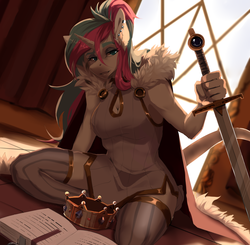Size: 2089x2045 | Tagged: anthro, artist:neonbluefoxfofi, boob window, book, cape, clothes, crown, ear piercing, female, jewelry, leonine tail, oc, oc:diamond mind, oc only, piercing, regalia, royalty, safe, simple background, sitting, socks, solo, solo female, sword, thigh highs, unicorn, weapon, ych result