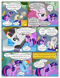 Size: 612x792 | Tagged: angry, annoyed, applejack, artist:newbiespud, bedroom eyes, comic, comic:friendship is dragons, dialogue, discorded, edited screencap, eyes closed, female, flower, flutterbitch, fluttershy, freckles, frown, greedity, hat, implied discord, liarjack, mare, paranoia, pointing, pony, rainbow dash, raised hoof, rarity, rock, safe, screencap, screencap comic, sunflower, the return of harmony, tom, trampling, twilight sparkle, unicorn, unicorn twilight, worried