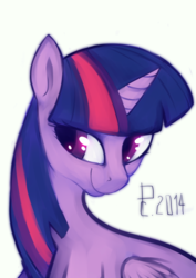 Size: 1364x1929 | Tagged: alicorn, artist:risterdus, bust, female, mare, pony, safe, simple background, solo, twilight sparkle, twilight sparkle (alicorn), white background