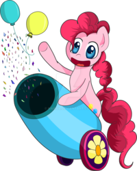 Size: 799x1000 | Tagged: safe, artist:nairua, pinkie pie, earth pony, pony, balloon, bipedal, confetti, cute, deviantart watermark, diapinkes, female, mare, obtrusive watermark, open mouth, party cannon, simple background, solo, transparent background, watermark