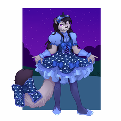 Size: 1500x1500 | Tagged: anthro, artist:fa wen, barely pony related, bow, clothes, commission, cosplay, costume, crossdressing, dress, feline, furry, furry oc, looking at you, male, non-mlp oc, non-pony oc, oc, oc only, pose, princess luna, safe, shoes, skirt, skirt lift, smiling, socks, solo, stockings, tail bow, thigh highs