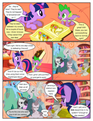 Size: 612x792 | Tagged: angry, applejack, arms behind head, artist:newbiespud, book, bookcase, cleaning, comic, comic:friendship is dragons, crossed arms, dialogue, dragon, earth pony, edited screencap, elements of harmony, eyes closed, female, flutterbitch, fluttershy, flying, freckles, frown, greedity, hat, liarjack, looking down, male, mane seven, mane six, mare, pegasus, pinkie pie, pony, prone, rainbow dash, rarity, rock, safe, screencap, screencap comic, sitting, sleeping, slit eyes, smiling, spike, talking book, the return of harmony, tom, towel, twilight sparkle, unicorn