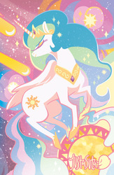 Size: 900x1380 | Tagged: safe, artist:justasuta, princess celestia, alicorn, pony, abstract background, comet, crown, eyes closed, female, hoof shoes, hooves, horn, jewelry, lineless, mare, profile, regalia, shooting star, sky, solo, space, stars, sun, tiara, wings